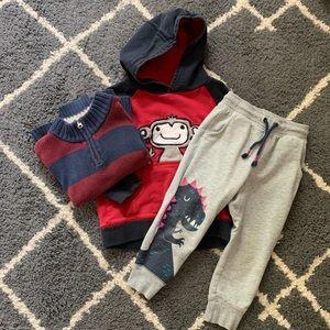Boys 3T Bundle: Hoodie, Sweatpants, Sweater